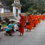 Monks walk early in the morning to receive alms of food and money in Luang Prabang, Laos