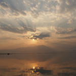 sunset over the lake of Phayao, Thailand